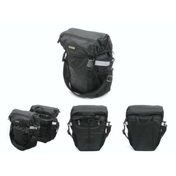 Csomagtartó táska A-N481  (fekete/ fekete fényvisszaverő fehér), - AUTHOR