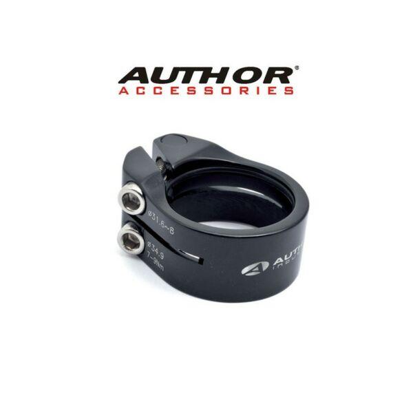 Nyeregcső bilincs csavaros ACO-315  d.31,6 / 34,9mm (fekete), - AUTHOR