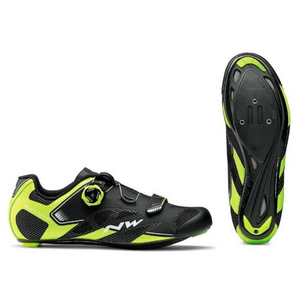 Cipő NORTHWAVE Road Sonic 2 Plus 43, fekete/fluo sárga/fehér