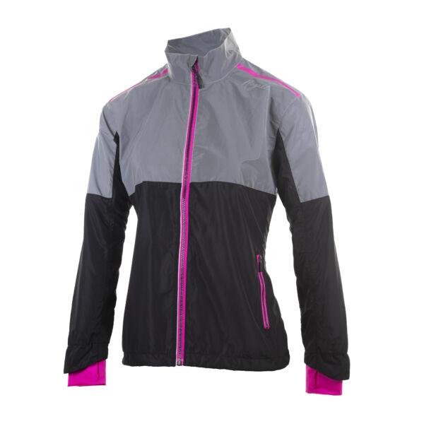 REFLEX női futó szélkabát, fekete/fluorite - ROGELLI
