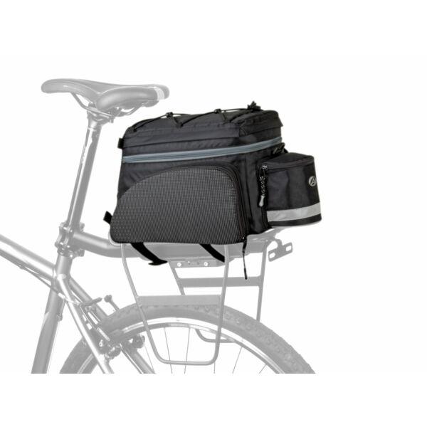 Csomagtartó táska A-N441 X9, fekete/ fekete fényvisszaverő fehér - AUTHOR