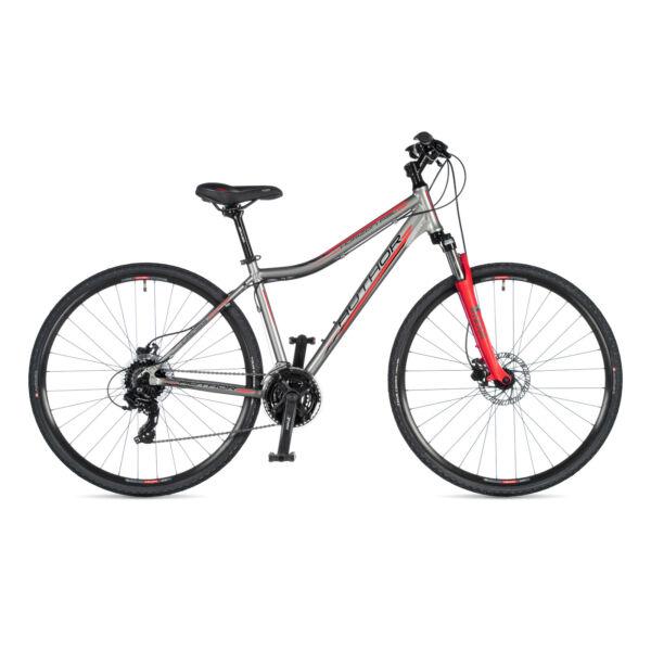 Horizon ASL női CROSS kerékpár, ezüst / piros - AUTHOR