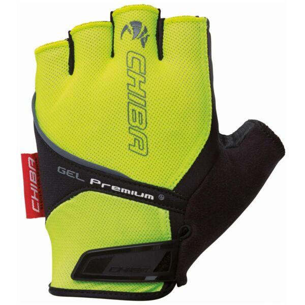 Cyklo rukavice Chiba GEL PREMIUM s gelovou dlaní, reflexní žluté