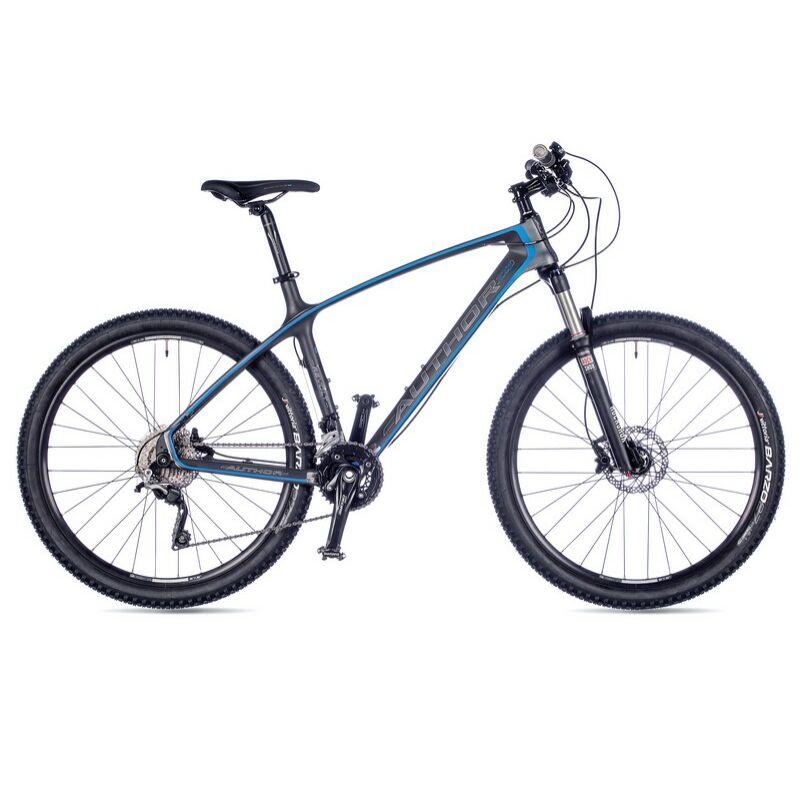 """Revolt férfi MTB 27,5"""" kerékpár, matt: karbon/szürke/kék - AUTHOR"""