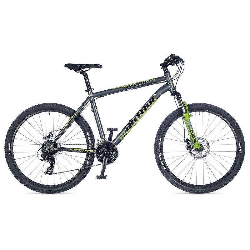 """Profile 26"""" MTB XC kerékpár, matt szürke/zöld - AUTHOR"""