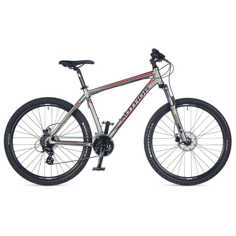 """Impulse 27"""" MTB XC kerékpár, matt ezüst/piros - AUTHOR"""