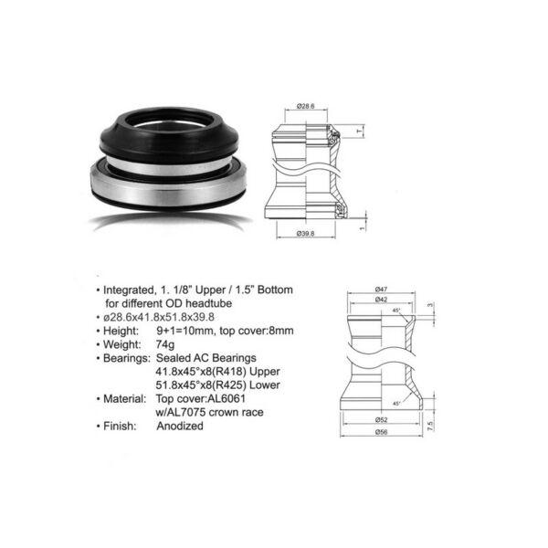 Kormánycsapágy szett  ACO - HS40 Integrated (28.6 / 41.8 / 51.8 / 39.8mm) (fekete), - AUTHOR