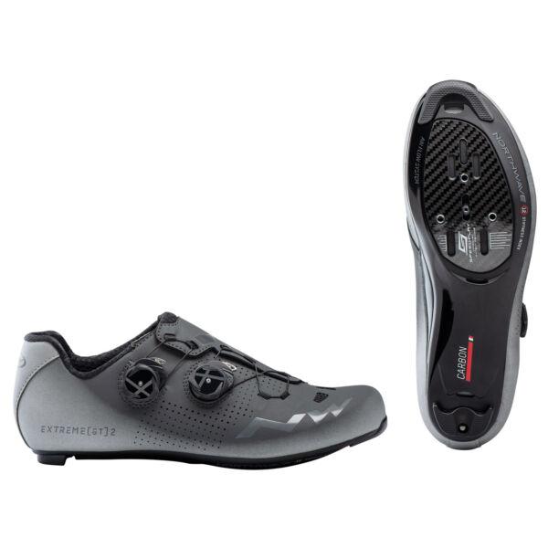 Cipő ROAD EXTREME GT 2 42 antracit/ezüst fényvisszaverős - NORTHWAVE