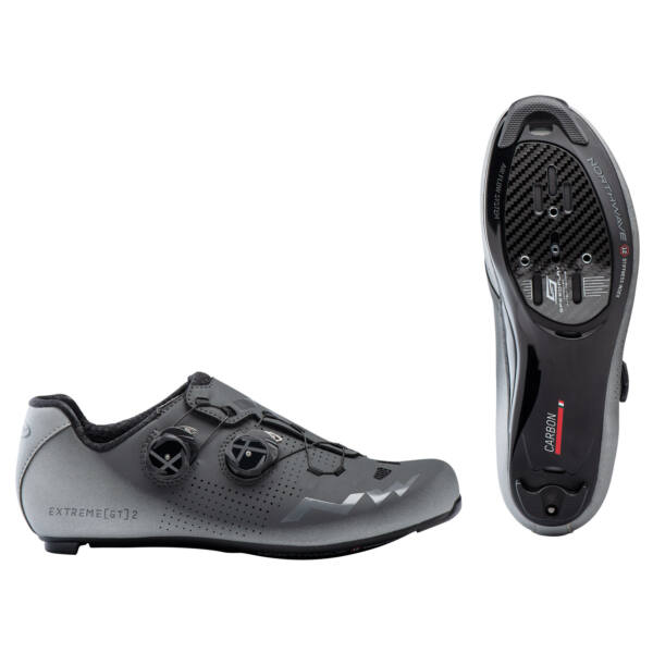 Cipő ROAD EXTREME GT 2 46 antracit/ezüst fényvisszaverős - NORTHWAVE