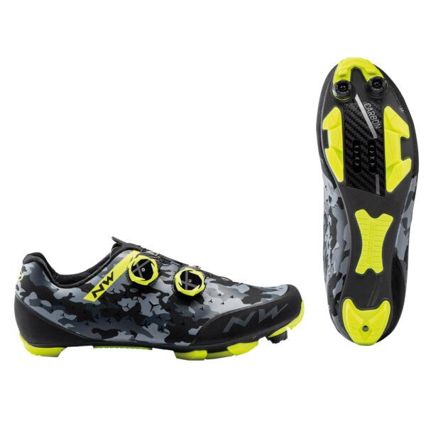 Cipő MTB REBEL 2 46 camo fekete/fluo sárga - NORTHWAVE