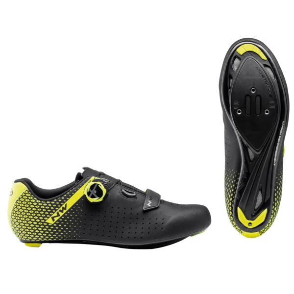 Cipő ROAD CORE PLUS 2 44,5 fekete/fluo sárga - NORTHWAVE