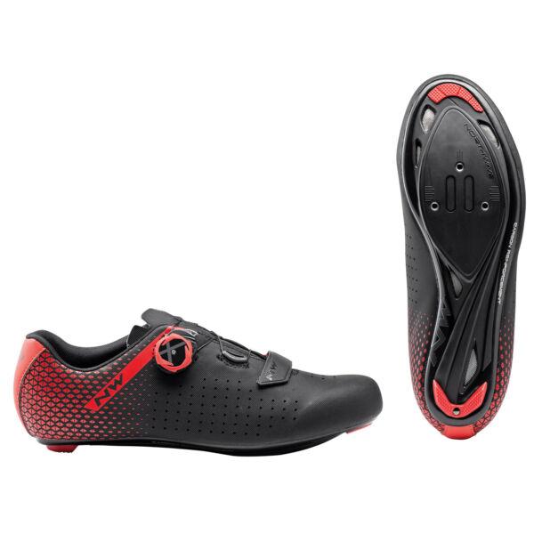 Cipő ROAD CORE PLUS 2 42,5 fekete/piros - NORTHWAVE