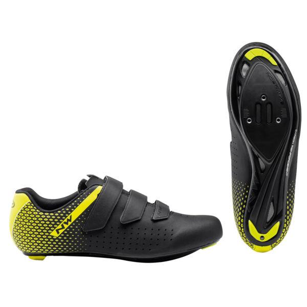 Cipő ROAD CORE 2 40,5 fekete/fluo sárga - NORTHWAVE