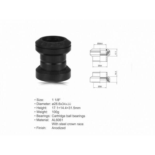 """Kormánycsapágy szett ACO - HS04 (1 1/8""""; d:28.6/ 34/ 30mm), fekete - AUTHOR"""