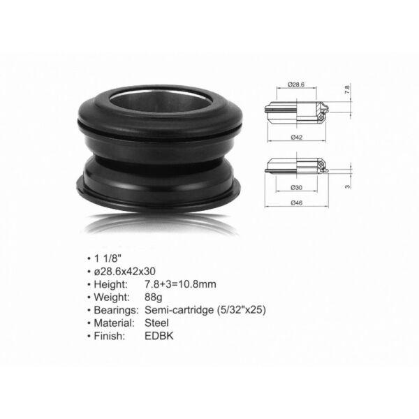 """Kormánycsapágy szett ACO - HS24 Internal (1 1/8""""; d:28.6/ 42/ 30mm), fekete - AUTHOR"""